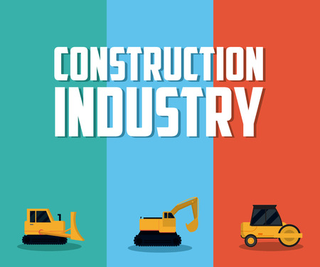 Construction industry and vehicles vector illustration graphic design