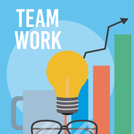 Teamwork and office elements cartoons vector illustration graphic design