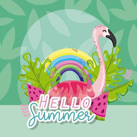 Hello summer cartoons with beautiful exotic bird and leaves vector illustration graphic design