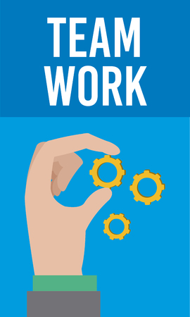 Business and teamwork hand with gears cartoons vector illustration graphic design