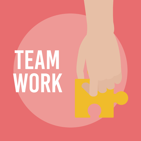 Hand with puzzle jigsaw pieces teamwork cartoons vector illustration graphic design