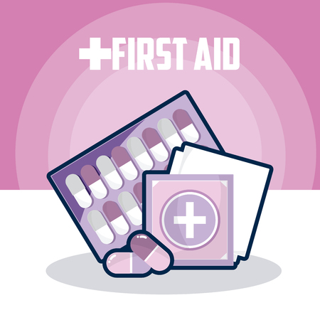 First aid with pills tablet and bandages vector illustration graphic design