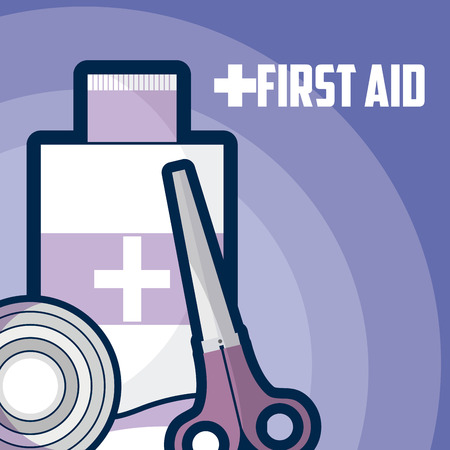First aid medicine bottle with scissor and bandage roll vector illustration graphic design