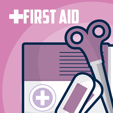 First aid suitcase with scissors and bandages vector illustration graphic design