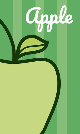 Apple vegetable cartoon over colorful striped background vector illustration graphic design