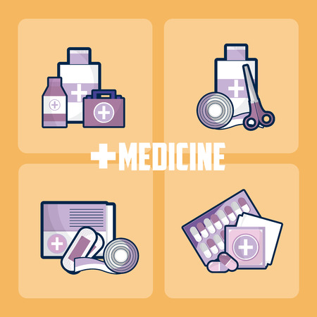 Set of medicine and drugs Illustration