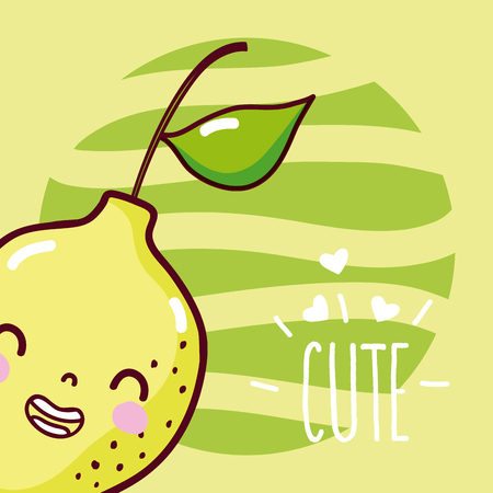 Lemon cute and funny cartoon vector illustration graphic design