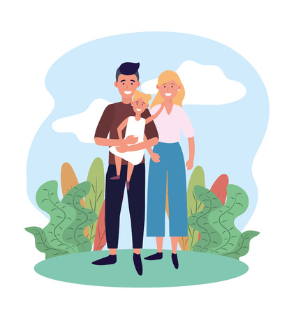 woman and man couple with their cute daughter vector illustration