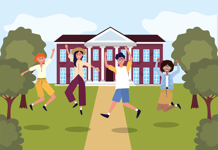 girls and boys students jumping in the university vector illustration