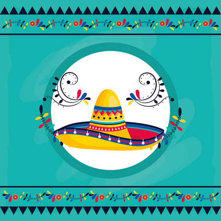 mexican culture festival mexico mariachi hat cartoon vector illustration graphic design Illustration