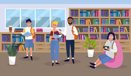 girl and boys in the university library education vector illustration