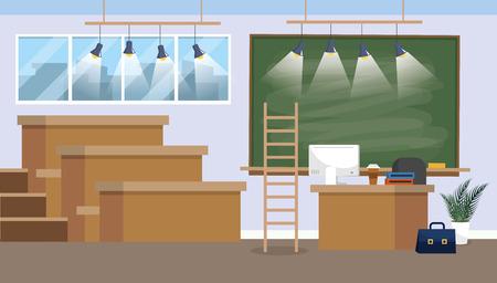 university classroom preparation with blackboard and lights vector illustration