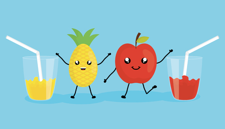 set of glasses with juice fruits characters Banque d'images - 120308186