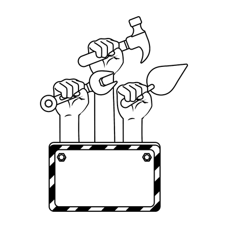 construction architectural tools with sign cartoon vector illustration graphic design