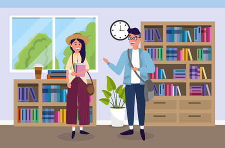 girl and boy with bags and books in the classroom vector illustration