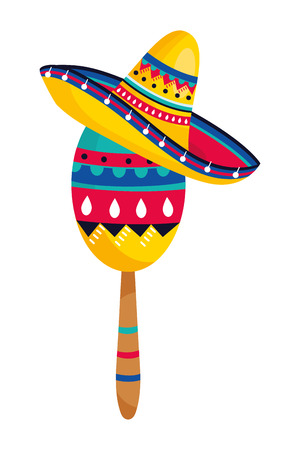 mexican culture mexico maraca instrument wearing mariachi hat cartoon vector illustration graphic design Illustration