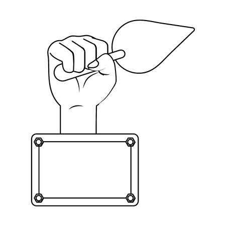construction architectural tool trowel cartoon vector illustration graphic design