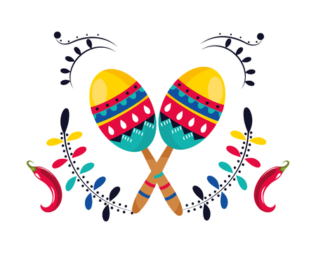 mexican culture mexico maracas instruments with peppers cartoon vector illustration graphic design