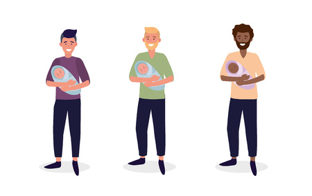 set men mother with their cute babies son vector illustration
