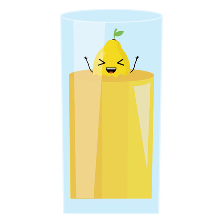glass with juice mango fresh fruit character Vectores