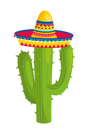 mexikanische Kultur Mexiko-Kaktus mit Mariachi-Hut-Cartoon-Vektor-Illustration-Grafik-Design