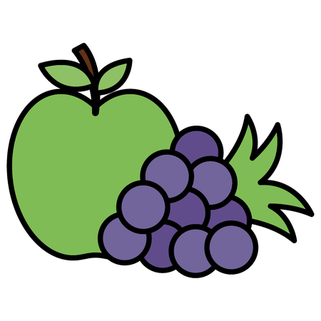 apple and grapes fresh fruits