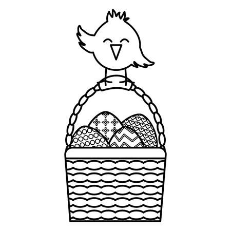 little chick with eggs painted in basket easter  イラスト・ベクター素材
