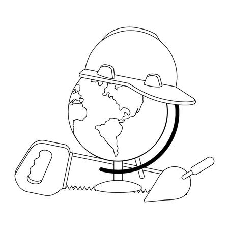 construction architectural tools cartoon vector illustration graphic design