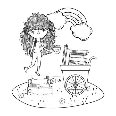 happy little girl reading books with cart in the field vector illustration design Illustration