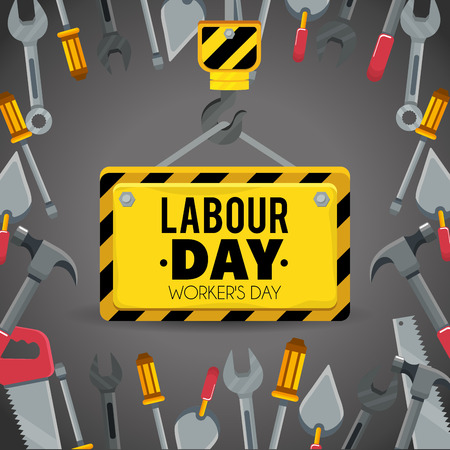 emblem with construction tools to labour day vector illustration