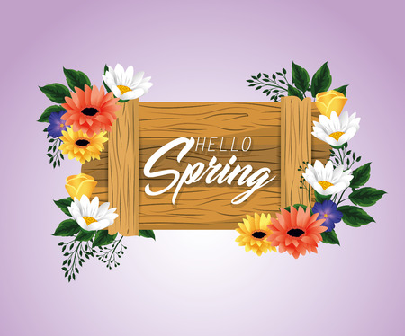 spring wood emblem with flowers and leaves vector illustration