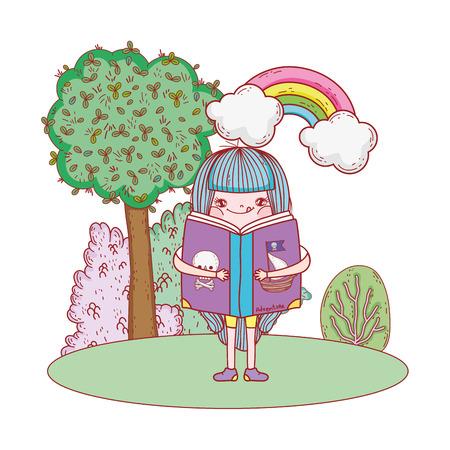 happy little girl reading books with rainbow vector illustration design
