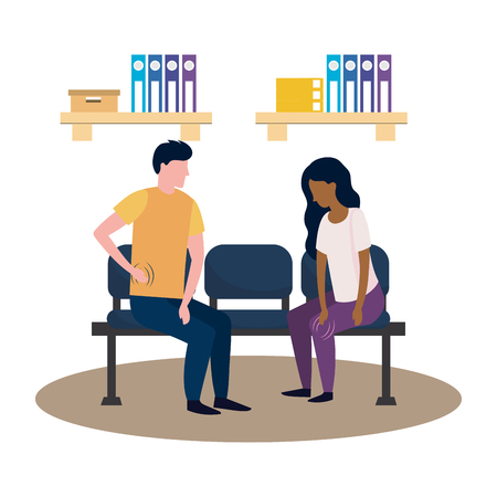 healthcare medical patients woman and man at doctors office cartoon vector illustration graphic design Stock Illustratie