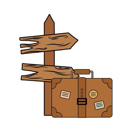 wooden arrow guide label with suitcase vector illustration design Stock Illustratie