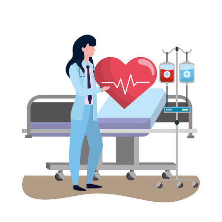 healthcare medical doctor woman at hospital doctors office holding heart rate cartoon vector illustration graphic design