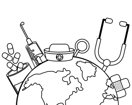healthcare medical hospital supplies world map icon cartoon vector illustration graphic design
