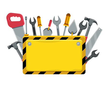 construction architectural tools sign cartoon vector illustration graphic design Vectores