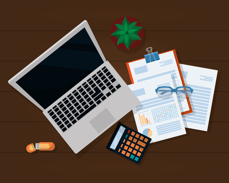 business personal finance desk work elements cartoon vector illustration graphic design Standard-Bild - 124098747