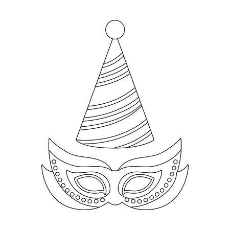 carnival mask with party hat cartoon vector illustration graphic design