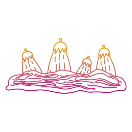 degraded line healthy eggplant fresh vegetable cultivated vector illustration 矢量图像