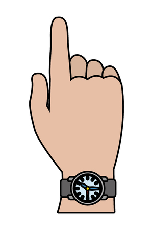 main humaine, porter, horloge, dessin animé, vecteur, illustration, graphisme