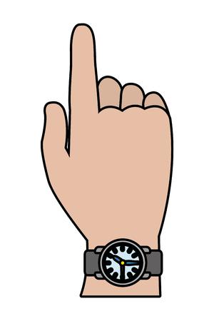 Mano humana con diseño gráfico del ejemplo del vector de la historieta del reloj
