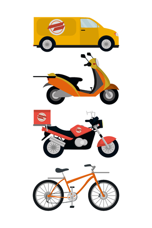 city delivery service vehicles items isolatedated icons vector illustration graphic design Vettoriali
