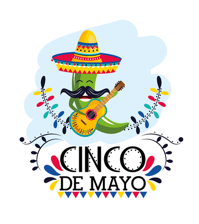 green chili pepper with hat and guitar to mexican event vector illustration