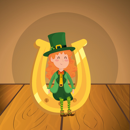st patricks day elf with horseshoe over wooden table cartoon vector illustration graphic design