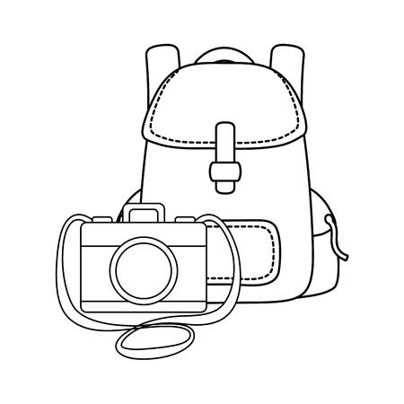 compass guide with travel bag and kerosene lamp vector illustration design
