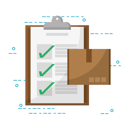 mail order delivery box with clipboard vector illustration graphic design