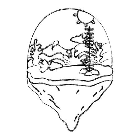grunge ballerina sishes and seaweed in the float island vector illustration Ilustracja