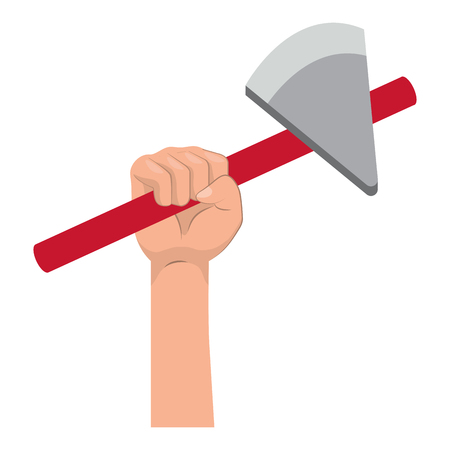 construction architectural tool ax hand holding cartoon vector illustration graphic design