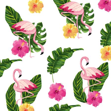 tropical flamingos flowers pattern background cartoon vector illustration graphic design Ilustração